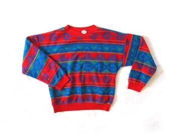 vintage sweater boys childrens 1980s southwestern print fleece sweatshirt bright colors size 12