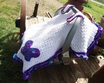 Car Seat Cover Canopy for Baby Purple & White with Butterfly Decoration Handmade Crochet