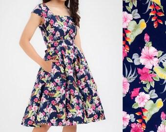 Holiday Dress Tropical Dress Hawaiian Dress Island Dress Tiki Dress Bridesmaid Dress Floral Dress Plus Size Dress Pinup Dress 50s Prom Dress