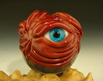 Dichroic Glass MONSTER VORTEX Marble Orb with 3 Eyes Lampwork  oddity Art Orb (ready to ship)