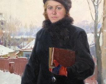 "The original picture of the USSR ""Village teacher"" 1950's, artist Tikhiy Ivan Antonovich (1927-1982)"