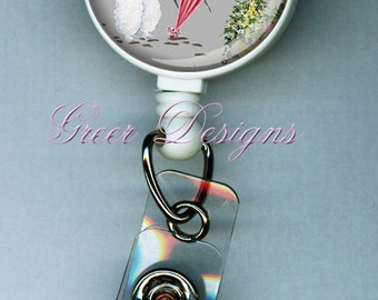 White Poodle Paris Champs Elysee Designer Gift Retractable ID Badge Holder Reel Clip