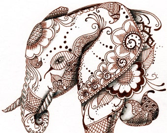 Elephant, original ink and charcoal drawing