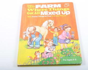 The Farm Where Things Got All Mixed up, Vintage, Children's, Illustrated, Book, Bedtime, Rhymes, Animals, Hardcover ~ The Pink Room ~ 160930