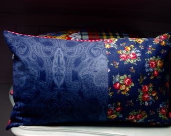 Decorative pillow, FLANNEL peach skin, bouquets of ROSES
