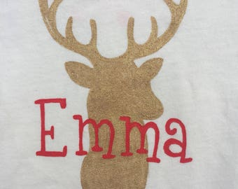 Reindeer Shirt, Girls Ruffle Shirt,Or No Ruffle Bodysuit, Personalized Reindeer, Fabric Painted,Red Snowflake,Holiday Shirt for Girls