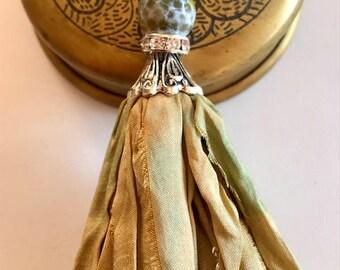 Silk Sari Tassel Necklace-Greenish Gold Tassel-Boho Tassel Jewelry