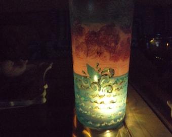 Handpainted, original artwork candle holder