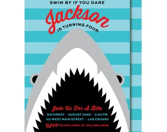 Shark Birthday Invitation, Shark Party Invitations