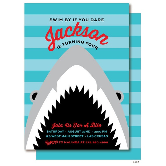Finest Shark Birthday Invitation Shark Party Invitations EP59