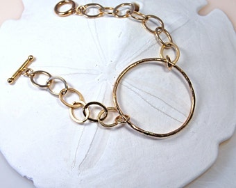 Gold Circle Bracelet  |  Large Link Chain