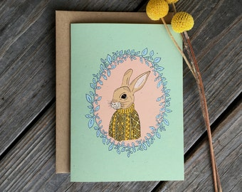 Forest Animal Card, Rabbit Card, Woodland Creatures Card