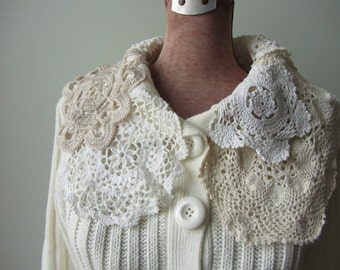 White Cardigan with Lace Doily Collar, Upcycled Clothing for Women, White Mori Girl Sweater, Shabby Chic Clothing, Anthropologie Style
