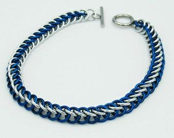 Blue & Silver Chainmail Bracelet, Half Persian Weave, Chainmaille Bracelet, Chainmail Weave, Chainmail Jewelry, Handmade Bracelet