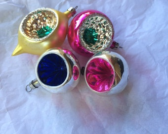 Vintage Christmas Ornaments Glass Indent Mixed Lot Tear Drop Pink Round