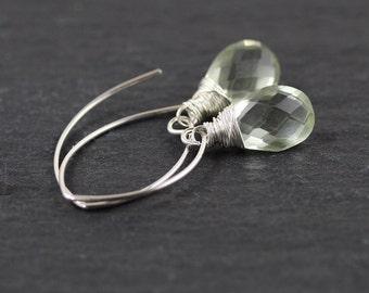 Prasiolite & Sterling Silver Earrings. Green Amethyst Long Dangle Earrings. AAAA Gemstone Jewelry. Wire Wrapped Jewellery. Bead Drop Earring