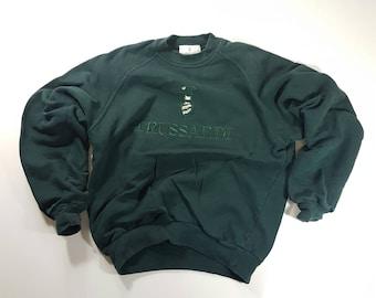Vintage Trussardi Sweatshirt Dark Moss Green Pullover Activewear Hip Hop