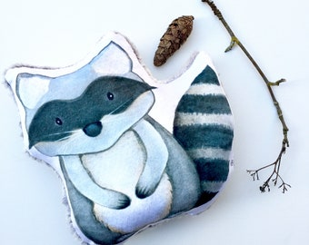 Raccoon Forest Friend Pillow-Smooth Minky + Gray Fox Faux Fur + Hypoallergenic Polyfil-Woodland Plushie