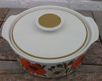 Vintage J & G Meakin Eve Midwinter 'Poppy' Design Vegetable Tureen / Serving Dish 1960s 1970s