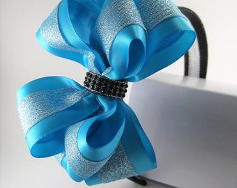 Glitzy Rhinestone Metallic Blue Layered Ribbon Hair Bow Glitter Headband Barrette