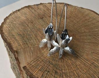 Sterling silver dangle earrings, orchid earrings , drop earrings, flower earrings, nature earrings