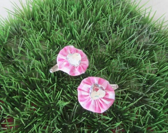"""Hair clips """"clic clac"""" pink gingham flower"""