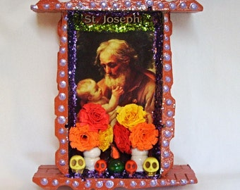 Mexican Nicho, Wood Nicho, St Joseph Picture, Mexican Decor, Saint Picture, Catholic Nicho, Mexican Folk Art, Day of the Dead, St Joseph