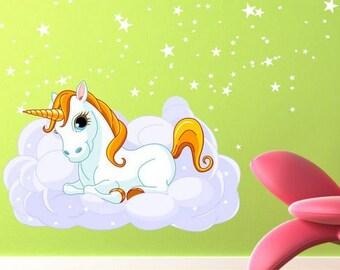Unicorn on a Cloud  color sticker (eenhoorn,unicorno) (2474f)