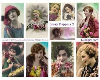 SASSY FLAPPERS digital collage sheet, vintage women girls, sassy ladies 1920s, tinted photos, French postcards, art cards ephemera DOWNLOAD