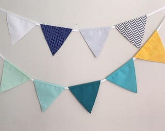Bunting Flags, Fabric Garland, Fabric Banner, Baby Shower, Nursery Bunting