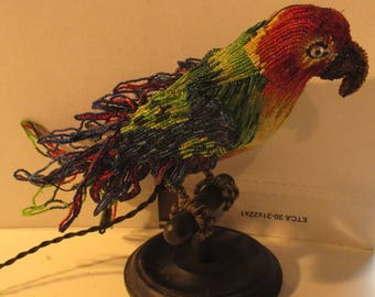 antique Venetian beaded parrot lamp lighting