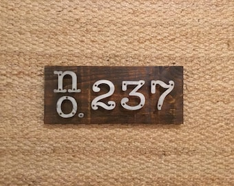 Address Sign, Modern Rustic Farmhouse Address Sign With Metal Numbers