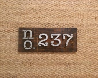 Address Sign, Modern Rustic Industrial Farmhouse Address Sign With Metal Numbers