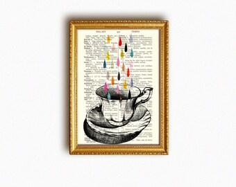 TEACUP RAIN vintage book print - my original artwork of a vintage teacup drawing on upcycled vintage book page - archival digital print