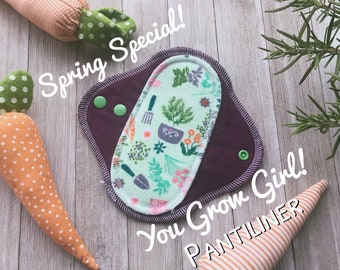"7"" Spring Garden Potted Rosemary Zorb Cloth Pantiliner Pad"