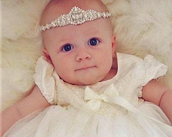 Baby girl christening headpiece, flower girl headband, baby headband, baptism headband, newborn photography