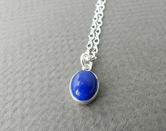 Small Lapis Lazuli Necklace, Sterling Silver, 17 inches Long Chain, Dark Blue Stone Pendant, Simple Jewelry
