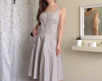 Gray&Milk Middle Summer Dress/Summer Striped Dress/Summer Middle Dress/ Summer Dress from Cotton/ Milk Сotton Summer Dress