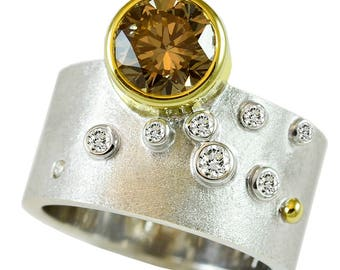 modern, conflict-free natural 2.10ct cognac diamond ring--fade collection