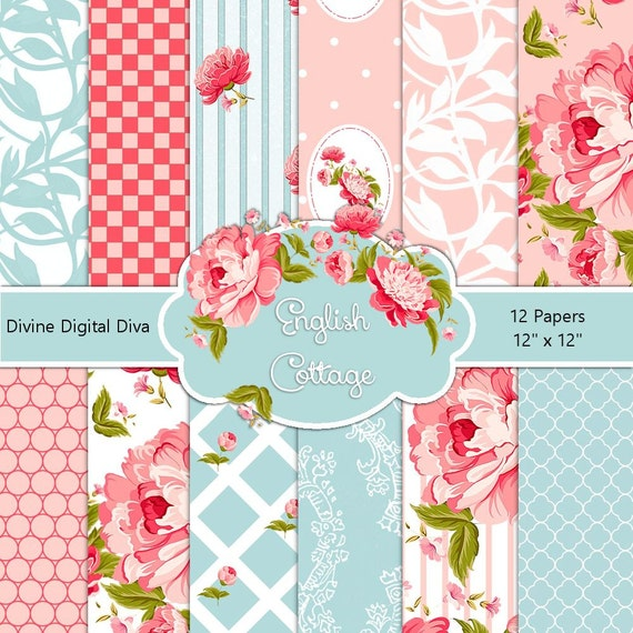 English cottage digital scrap paper pack pink roses damask blue english cottage digital scrap paper pack pink roses damask blue instant download from divinedigitaldiva on etsy studio mightylinksfo