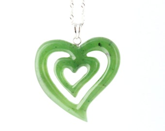 "Canadian Nephrite Jade Pendant, Heart 3504 - 15% off - Promo Code ""FATHERS"""