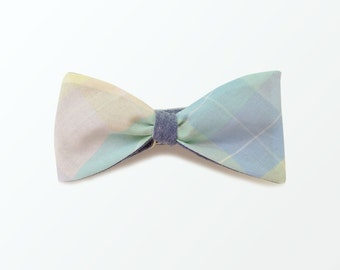 Boys Junior Bow Tie, Pastel Plaid Bow Tie / Blue Chambray Double Side Self Bow Tie for Gift and Wedding / READY TO SHIP
