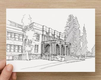 Ink Sketch of Old Bend Highschool in Bend, Oregon - Drawing, Art, School, Arches, Trees, Brick, Architecture, Pen and Ink, 5x7, 8x10