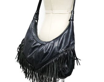 80's black leather fringe sling bag