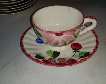 Blue Ridge Southern Potteries Mardi Gras Cup and Saucer