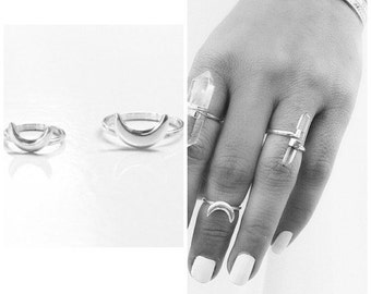 Silver Crescent Moon Ring, Stack Ring, Gypsy Ring, Boho Rings, midi Ring, simple ring, Moon Ring