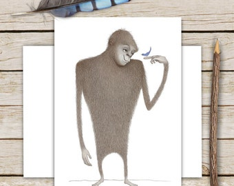Bigfoot Meets the Bluebird of Happiness Greeting Card