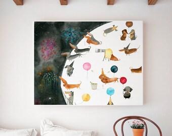 Dachshund Soirée Art Print | Dog Wall Art | Children's Illustration | Kid's Room Decor