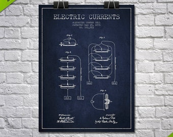 1876 Alexander Bell Electric Currents Patent Poster, Patent Art Print, Patent Print, Blueprint, Wall Art, Home Decor, Gift Idea
