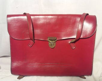 Vintage Red Leather Swiss School Bag